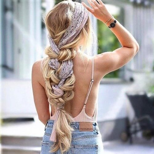 Braided Scarf Easy Summer Hairstyles