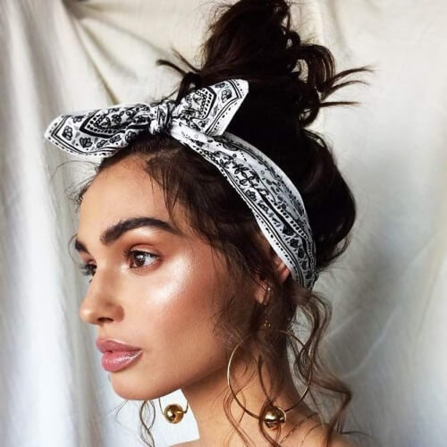 Easy Messy Bun Hairstyle with Bandana