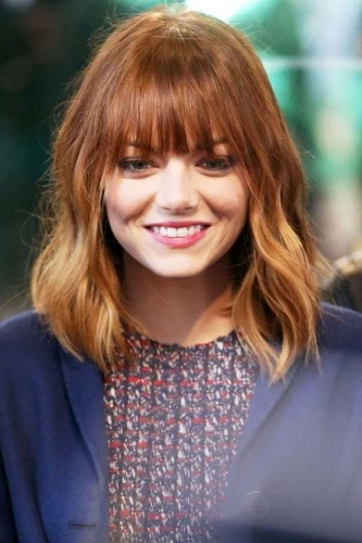 Emma Stone Haircut with Bold Bangs