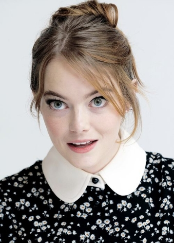 Emma Stone Updo with Wispy Side Bangs