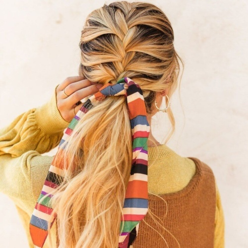 French Braids with Low Ponytails and Hair Scarves