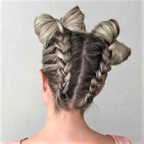 Great Hairstyles for Summer with Braided Bow Buns