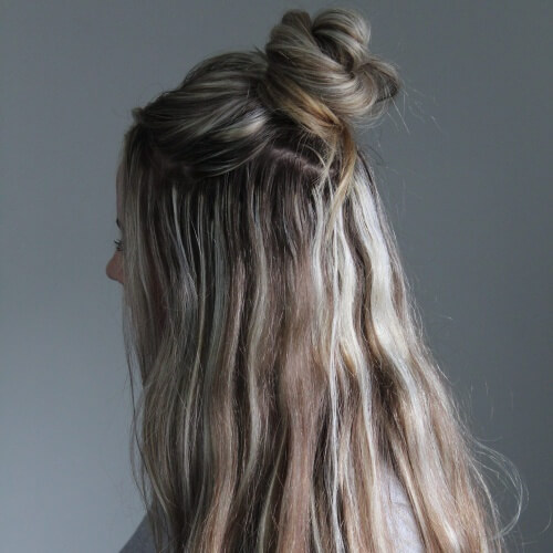Half Up Messy Bun for Long Hair