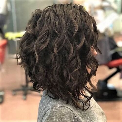 Long Inverted Bob for Curly Hair