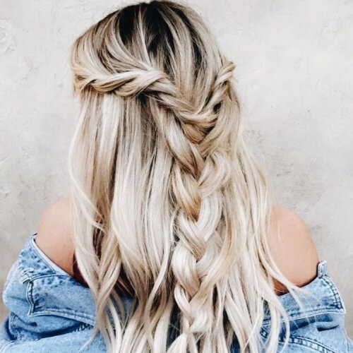 Loose Braid Casual Half Up Half Down Hairstyles