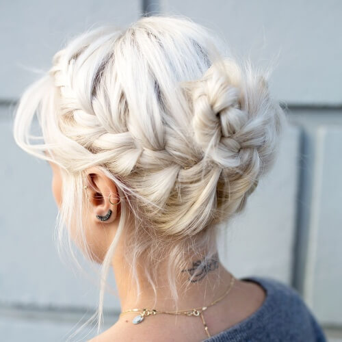 Loose French Braid Bun