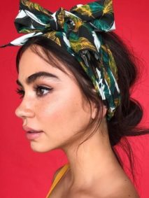 Low Messy Bun Hairstyle with Headscarf