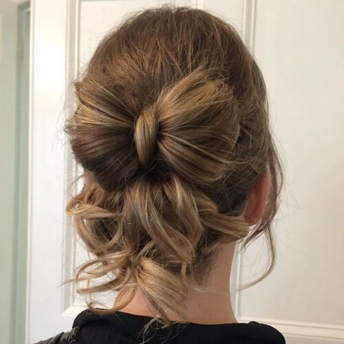Messy Hair Bow Bun