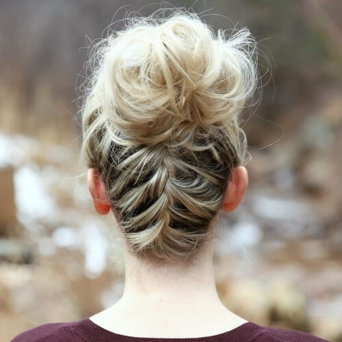 Messy Reverse Braid Bun