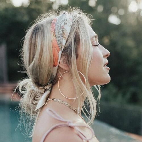 Messy Summer Hairstyles with Scarves