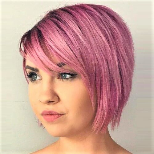 Pink Inverted Bob with Bangs