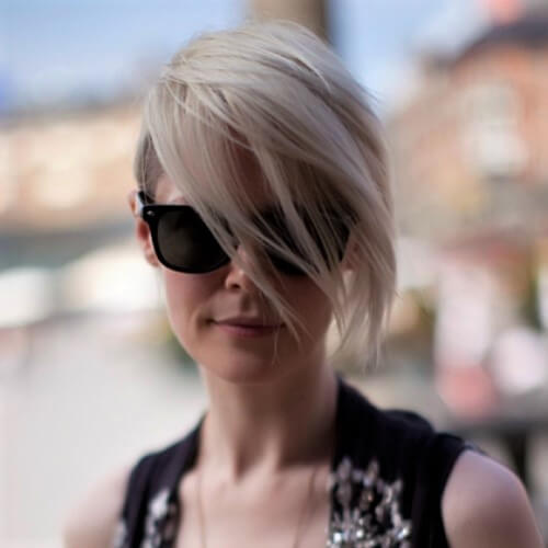Shaved Side Asymmetrical Inverted Bob Haircut