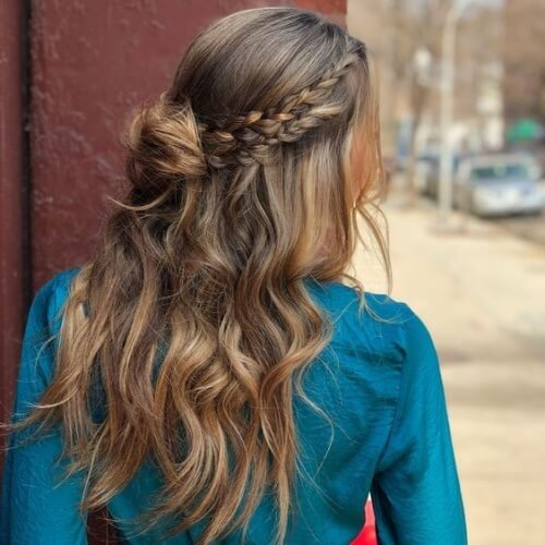 Side Braid Half Up Bun