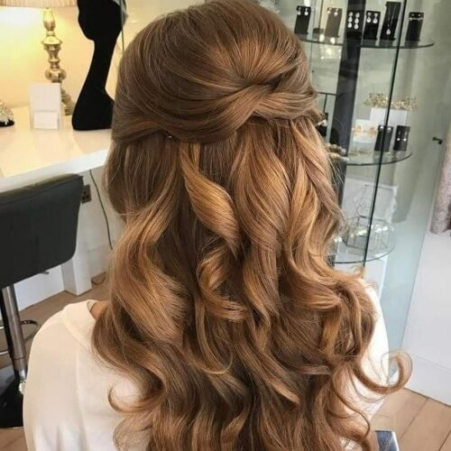 Tri-Fold Easy Half Up Half Down Hairstyles
