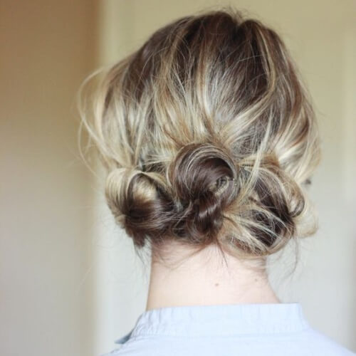 Triple Messy Bun for Short Hair