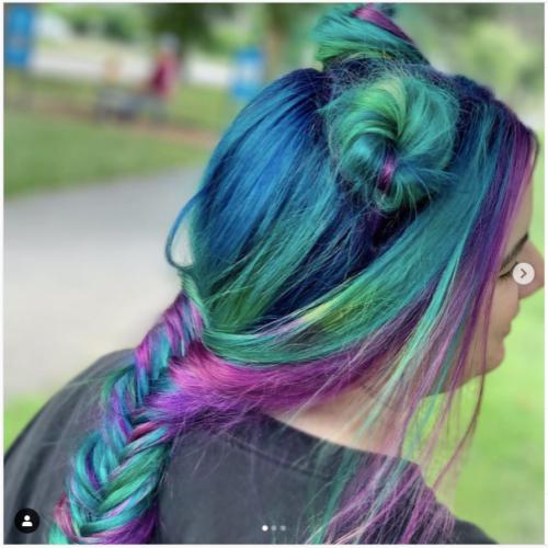multicolored dual bun fishtail