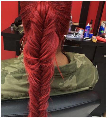 red messy fishtail braid ponytail