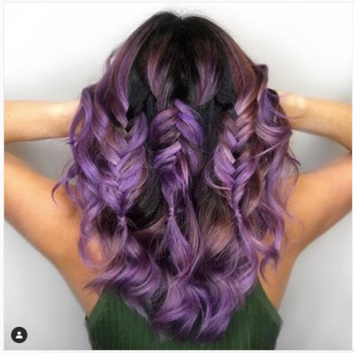 purple short triple fishtail