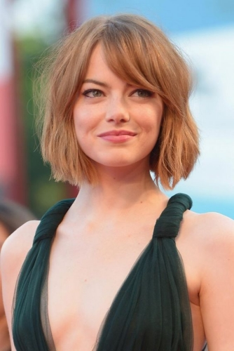 sophisticated and choppy emma stone haircut
