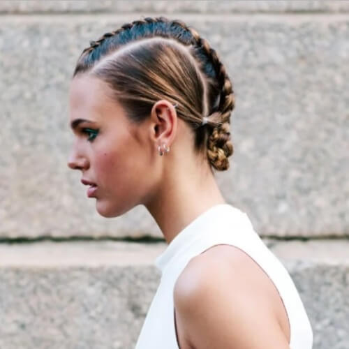 Braided Faux Hawk Chignon Hairstyles
