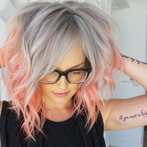 Coral and Silver Pastel Hair Colors