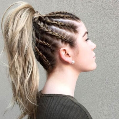 Cornrows Dutch Braid Hairstyles for Long Hair