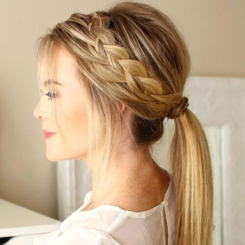 Cute Ponytail Hairstyles with Crown Braids