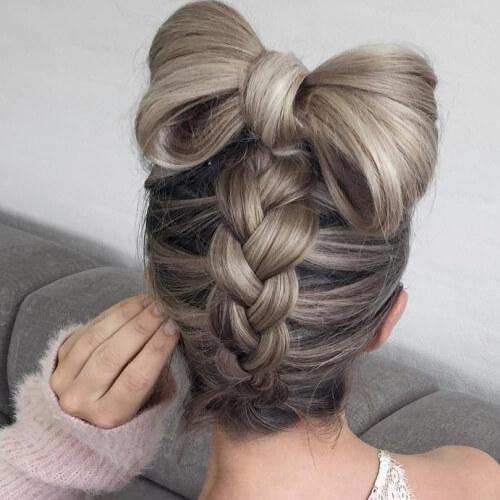 Dutch Braid Bun with Bow Hairstyles