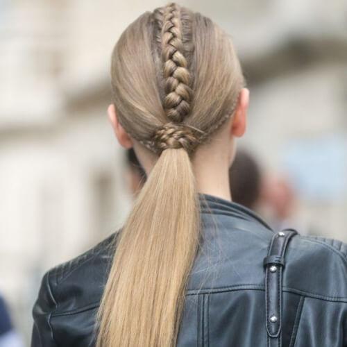 Dutch Braid Hawk with Low Ponytail Hairstyles