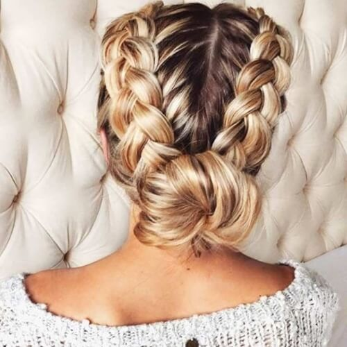 Dutch Braid Pigtails with Low Bun