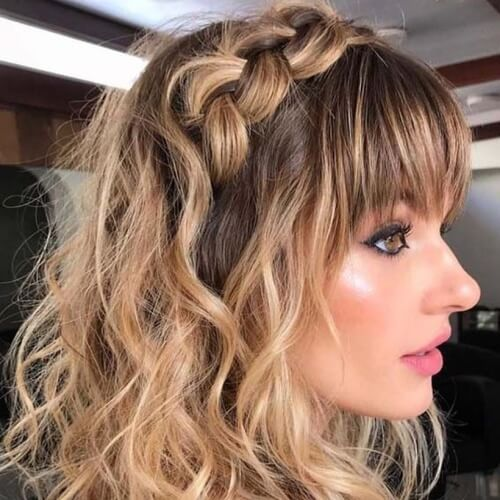 Dutch Braid with Bangs Hairstyles