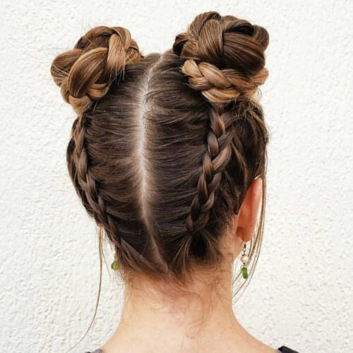 Dutch Braided Space Buns