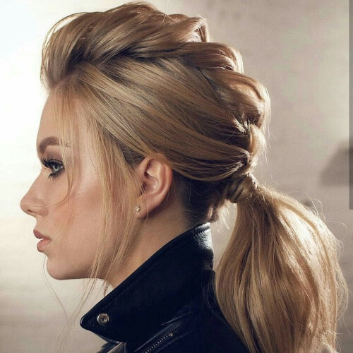 Faux Hawk Braid Ponytails