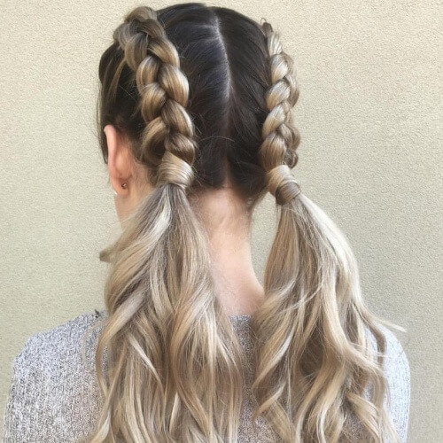 Half Dutch Braid Pigtails