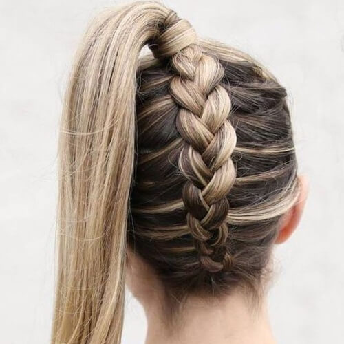 High Ponytail Reverse Dutch Braid Hairstyles for Long Hair