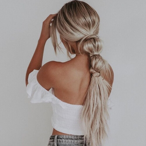Knotted Low Ponytail Hairstyles