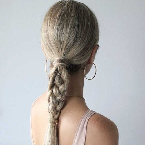 Low Ponytail with Braided Section Hairstyles