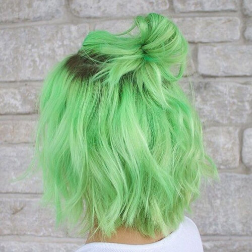 Neon Pastel Green Hair Colors