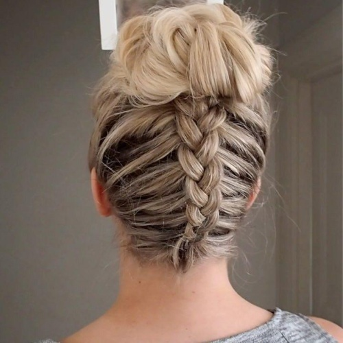 Reverse Dutch Braid Top Knot Hairstyles