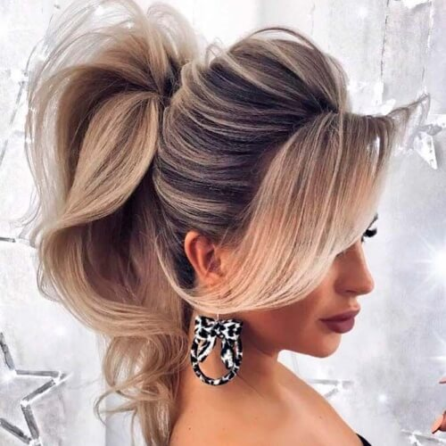 Sweeping Updo Ponytail Hairstyles with Bangs