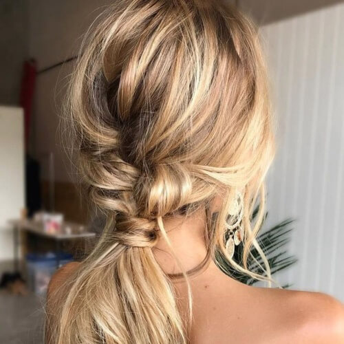 Textured Half Braided Ponytails