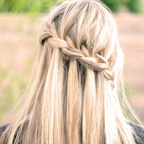 Waterfall Braid Straight Hairstyles