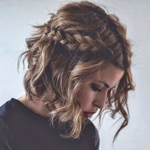 Wavy Hair with Crown Braid Style