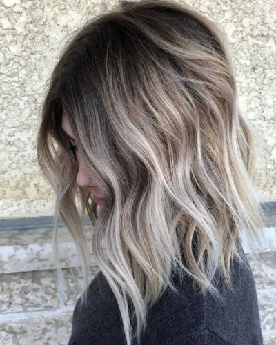 ashy ombre on mid length hair
