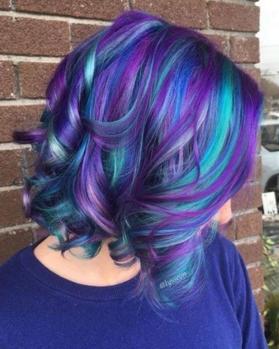 blue and purple highlights wavy bob
