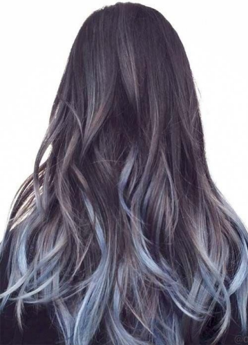 blue denim ombre hair color