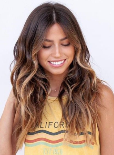 caramel brown on wavy brown hair
