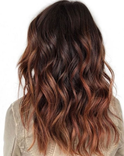 cinnamon brown highlights on brown hair