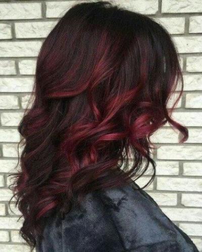 dark burgundy ombre tips
