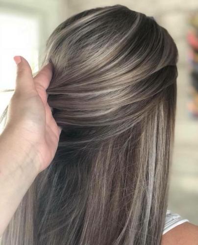 gray babylights on dark hair